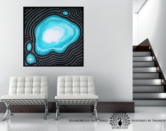 Blue abstract painting with Swarovski®. Teal art. Blue abstract art. Large teal wall art. Modern art. Large blue abstract painting Lydia Gee