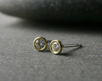 Tiny bezel set 18k yellow gold and round brilliant cut moissanite stud earrings 3mm quarter carat