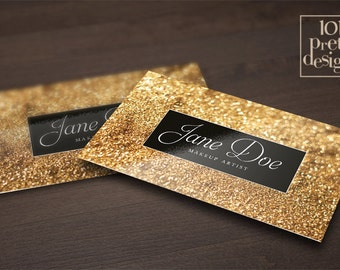 Golden business card template makeup business card design gold glitter business card template makeup artist business card design gold business card printable black reheart Image collections