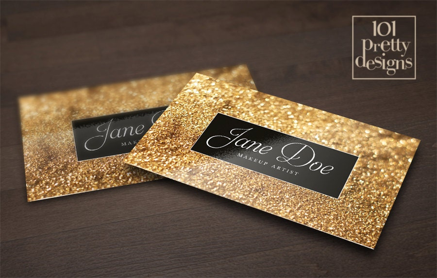 Gold glitter business card template makeup artist business