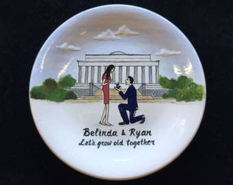 Engagement, Wedding gift - Personalized Hand Painted Ceramic Ring Dish plate, ring holder, Lincoln Memorial, destination