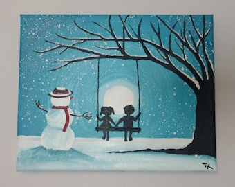 Boy and Girl Swinging on a Winter Night