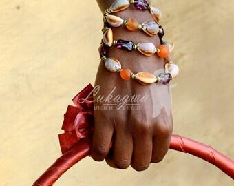 Shell beaded bracelet,Shell layered bracelet,African shell bracelet,Purple beaded bracelet