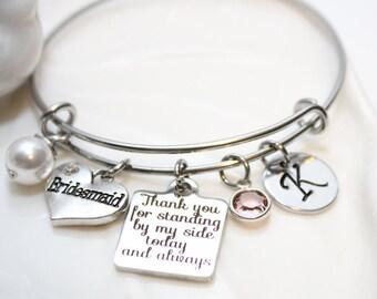bridesmaid bracelet, personalized bridesmaid bracelet, bridesmaid set, bridesmaid gift set, bridesmaid jewelry, bridesmaid party set