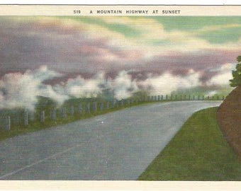 Mountain Highway At Sunset Night Scene Vintage Postcard Linen Postcard approx 1930's-1940's