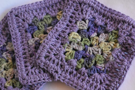 Lavender & Sage Crochet Coaster Set -- Set of 4 Purple and Green Handmade Coasters