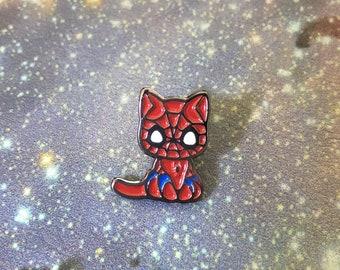 spider-cat enamel pin