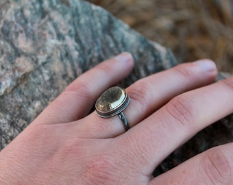 Moon crater ring in pyrite and oxidized silver, size 6.75
