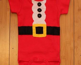 Santa Baby Felt Applique Onesie Costume