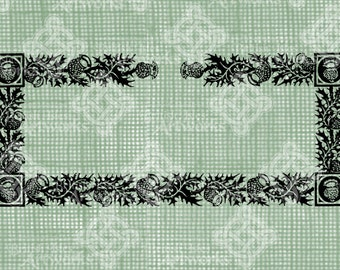Digital Download Scottish Thistle Border Frame, digi stamp, digis, digital stamp, Antique Illustration, Icon of Scotland