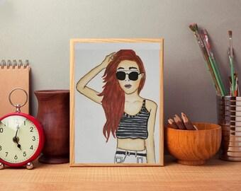 Fine Art Paper Print Fashion Illustration