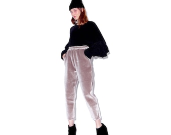 OMG velvet joggers xs small / champagne colored velvet pants high waisted pants skinny tapered pants luxurious athletic pants elastic waist