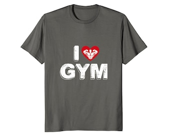 Gym Tee Shirt - Gym Lover Shirt - Exercise T Shirt - Exercise Gift Idea - Funny Workout Top - I Heart Gym