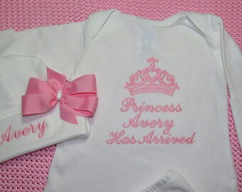 Baby Girl Coming Home Outfit Princess Has Arrived Baby Girl Clothes Optional Hat or Headband With Bow Take Home Outfit Baby Shower Gift