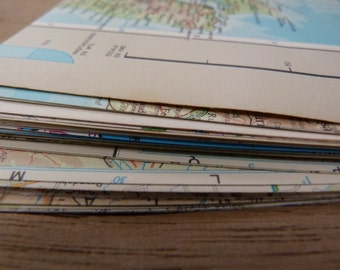 SALE 10 VINTAGE MAPS for collage or scrapbooking