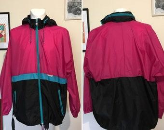 Vintage Pink Spring Men's Foldable Jacket  Colourblock Shell Raincoat Old School 90s Style Parka Jacket Size XL XXL