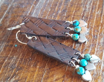 Hand Tooled Leather Earrings  - Basket Weave - Turquoise - Silver Hearts - Sterling Silver - Western Jewelry - Cowgirl Jewelry