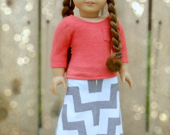 Gray and White Chevron Print Mitered Maxi Skirt for American Girl Dolls
