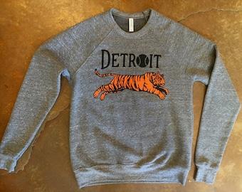 Detroit Baseball Leaping Tiger Silkscreened Crew Neck Sweatshirt (Sizes: XS,S,M,L,XL,2XL)