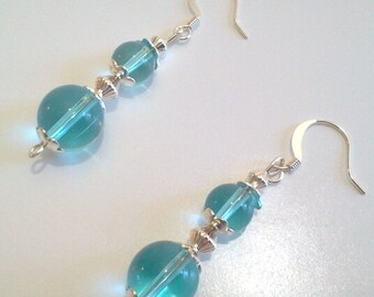 Blue and Silver Glass Bead Dangle Earrings, Something Blue Bridal Jewelry, Round Bead Drop Earrings