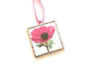 Pink Poppy, Spring decor, flower ornament, cubicle decor, mini wall art, cubicle decoration, photo ornament, flower photograpy