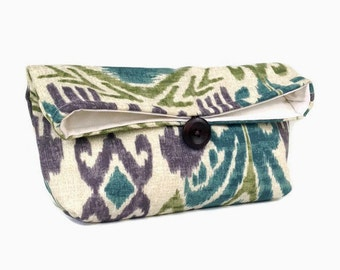 Teal Blue, Purple, Olive Green, and Tan Ikat Clutch Purse, Bridesmaid Gift, Travel Makeup Bag, Gift for Her, Mom, Girlfriend, Wife