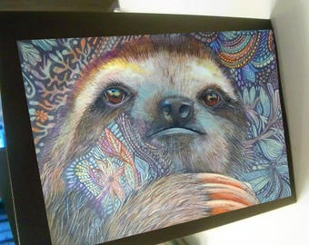 greeting card zentangle the sloth is here blank card