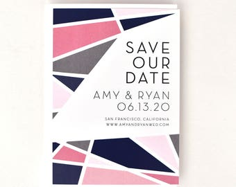 Bright Colorful Save the Date - Bright Modern Geometric – Multi-Colored Millennial Pink Wedding Save the Date (Amy Suite)