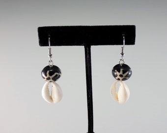 Cowrie Shell & Batik Bone beads