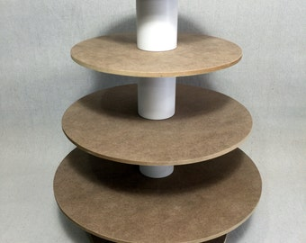 4 Tier Round Unfinished Custom Made Cupcake Stand. Can hold up to 53 cupcakes.