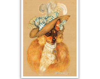 Miniature Pinscher. The Ballerina / Min Pin Art Print / Lady Dog Portraits of Animal Century