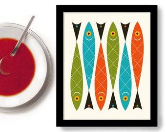 Mid Century Modern Kitchen Wall Art, Modern Kitchen Art, Fish Art, Beach House Decor, Cooking Gift, Kitchen Gift