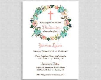 Baby Dedication Invitation, Baby Girl Baptism Invite, Christening Invite, Floral Wreath, DIY PRINTABLE