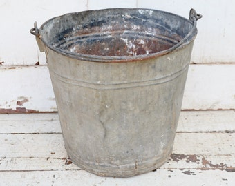 Vintage Galvanized Metal Bucket Leaky Holes Dents Pail Rustic Primitive Farm Ranch Garden Planter Repurpose Upcycle