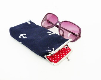 Glasses case, anchor fabric, navy blue and white cotton anchor design, cotton case