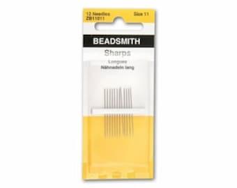 Beading Needles Beadsmith size 11 Sharps  12 pack high quality stainless steel beading needles in handy 12 pack sharps short needles