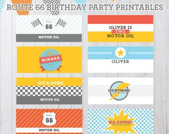 Personalizable Radiator Springs Vintage Cars Birthday Party Printables - Oil Can Labels Only
