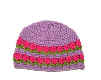 Purple Spring Hat, Spring Beanie, Tulip Beanie, Purple Girls Hat, Flower Cap, Knit Girls Beanie, Pink Tulips, Spring Womens hat, Crochet Cap