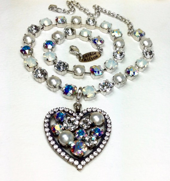 Swarovski Crystal -  Valentine Heart -  Beautiful Bridal Whites - White Opal, Radiant Crystal, Pearls & Aurora Borealis -  FREE SHIPPING