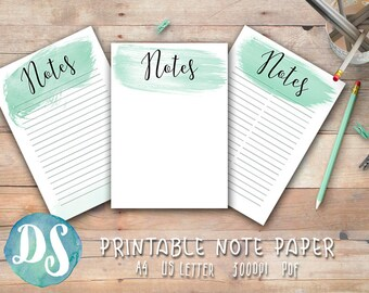 Printable Note Paper - Mint Watercolour Theme - PDF, A4, Letter, List, No Lines, with lines Printable Note Pages