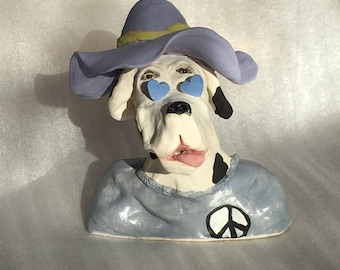 Here's Cosmo a stoneware ceramic handmade cute whimsical dog by Jacquie Cross