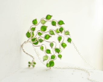 Lime Tree Necklace, Fruit Jewelry, Sterling Silver, Paper Jewelry, 1st Anniversary Gift, 4th Anniversary Gift, Lime Green, Apple Green