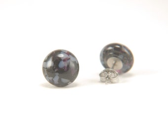 Deep purple and vanilla marble fused glass stud earrings with surgical steel earring posts