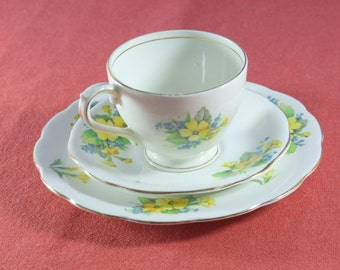 Classic Fine Bone China Tea Trio Set from Bell China Made In England Cup Saucer Plate & Vintage Dorchester Bone China Floral Pattern Cup Saucer and