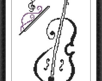 Cello Modern Cross Stitch Pattern PDF Chart Black Monochrome Cross Stitch Silhouette