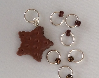 Chocolate Star - snag-less stitchmarkers and placeholder