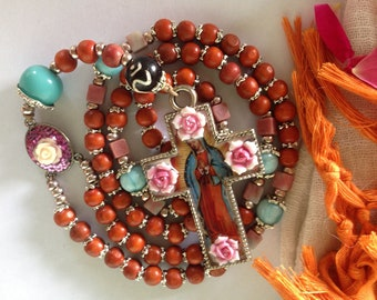 Guadalupe Mary 5 Decade Rosary made of Sadhu's Mala Beads