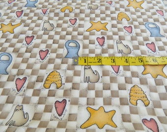 Light Beige & White Check with Cats Stars Heart Fabric BTY (404E)