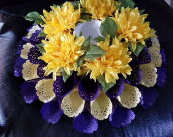 Purple and Yellow Table Centerpiece