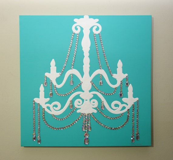 Aqua chandelier painting 20x20 pop art blue artwork silver aqua chandelier painting 20x20 pop art blue artwork silver artwork rhinestones home decor wall art chandelier art aloadofball Gallery